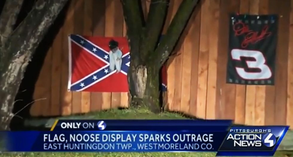 Penn. home hides Confederate flag and lynched black baby doll display after reporters look for answers