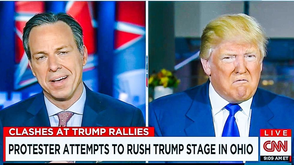 Watch: Donald Trump snarls at Jake Tapper after he pleads with him to stop 'inciting violence'