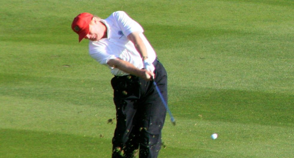 CNN rolls supercut of Trump on the links for 80th time since inauguration after he promised he 'won't have time to golf' as president