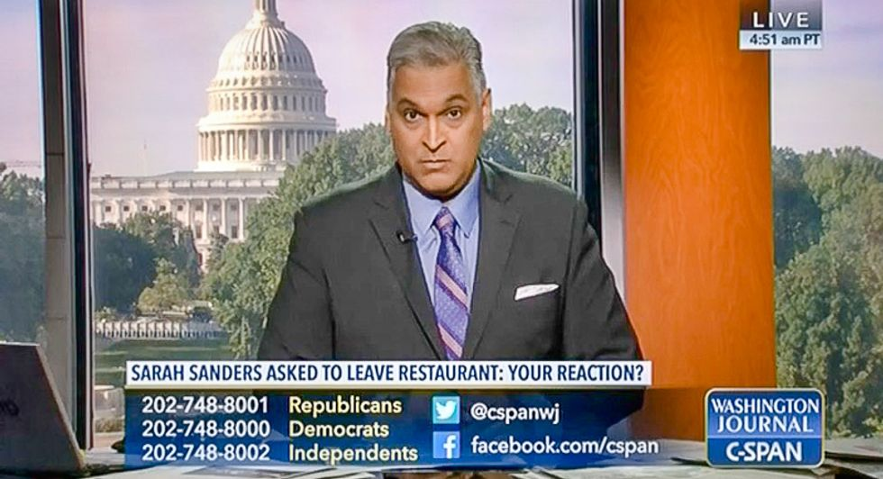 'Burn it down': Republican C-SPAN caller suggests Red Hen will be set on fire for asking Sarah Sanders to leave