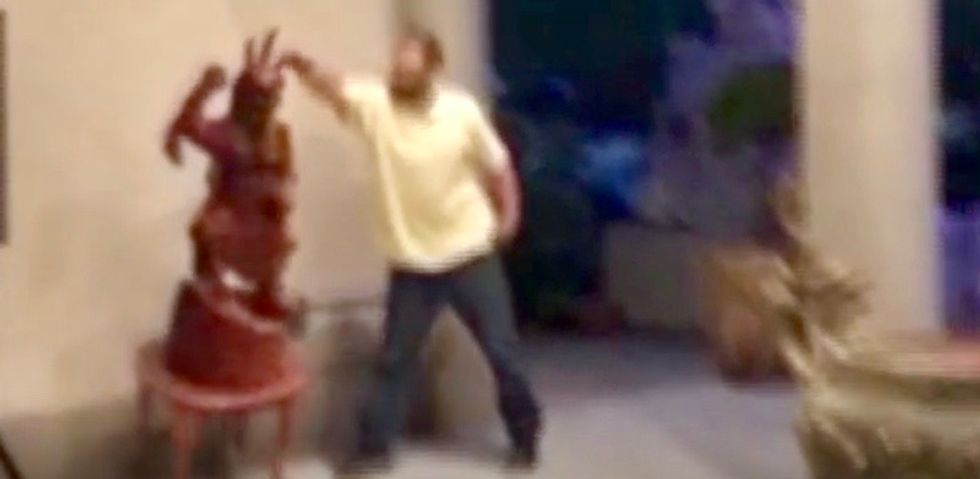 WATCH: Washington man says 'God called him' to vandalize Buddhist temple with his Nissan Altima