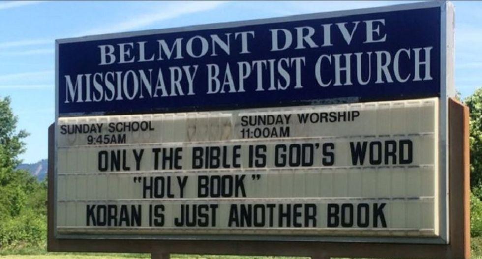 Pastor bizarrely explains anti-Muslim church sign: I'm not politically correct, but I am biblically correct