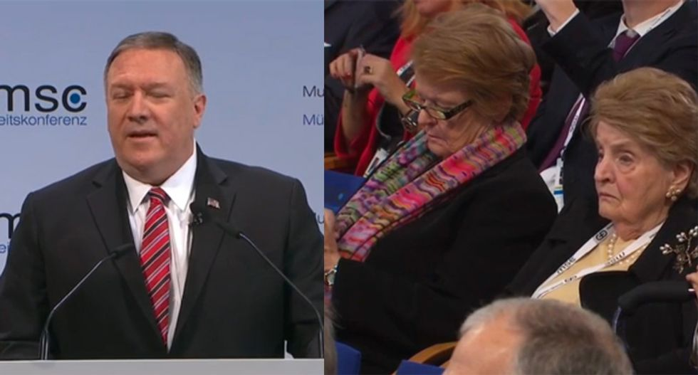 WATCH: Pompeo greeted with uncomfortable silence at Munich conference after boast about Trump's achievements