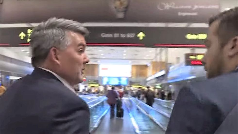 GOP senator refuses to answer questions on impeachment witnesses when reporter corners him in airport