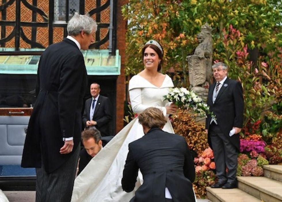 Queen Elizabeth's granddaughter Princess Eugenie weds in Peter Pilotto dress and queen's tiara