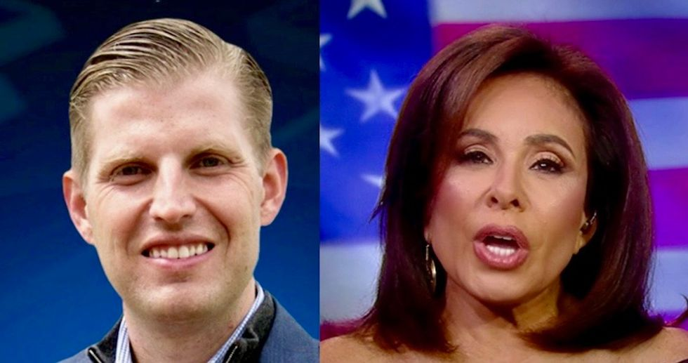 Eric Trump complains about 'politicization' of right-wing political terror attacks in interview with Fox News' Jeanine Pirro