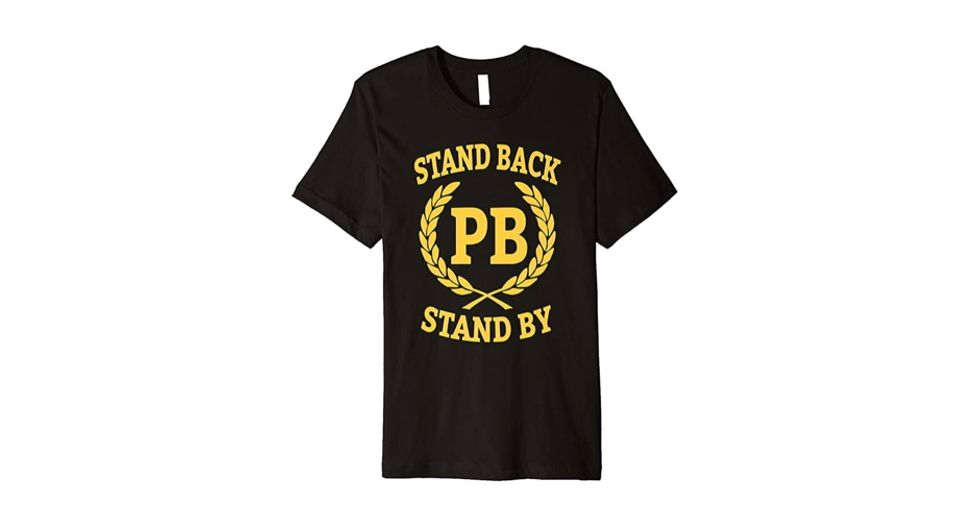 Extremist neo-fascist hate group 'Proud Boys' merchandise with Trump order to 'stand back, stand by' already on Amazon