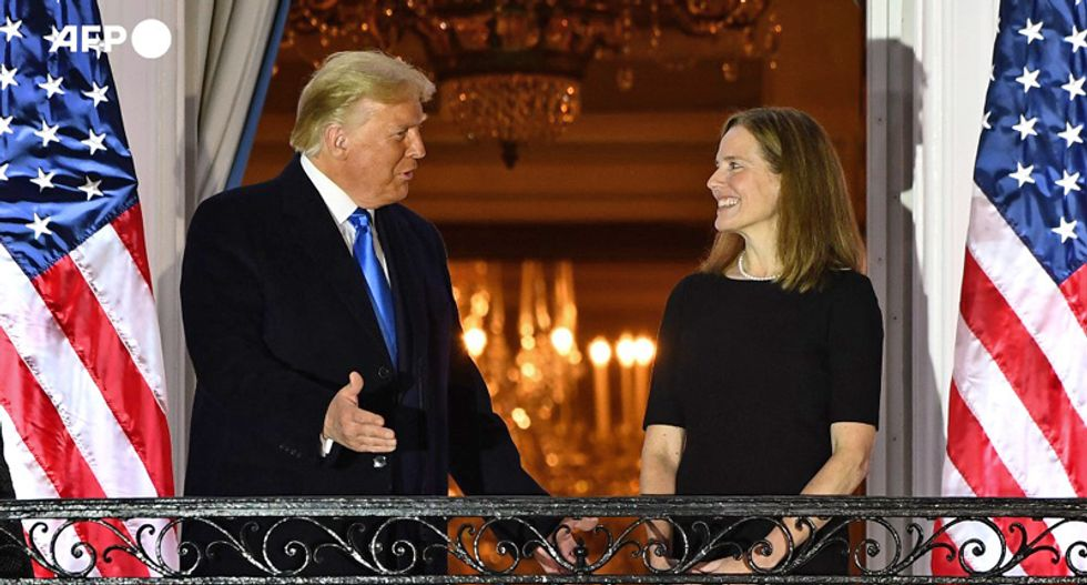 'Pure fascism': 'Campaign photo op' capturing Amy Coney Barrett 'flaunting allegiance' to Trump goes viral
