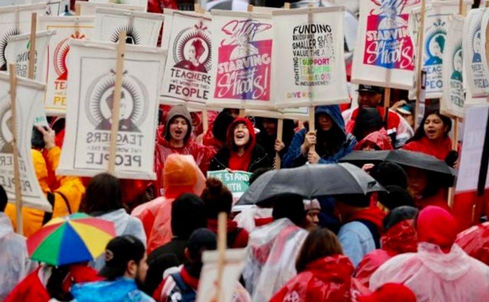 Striking Los Angeles teachers set major rally amid marathon contract talks