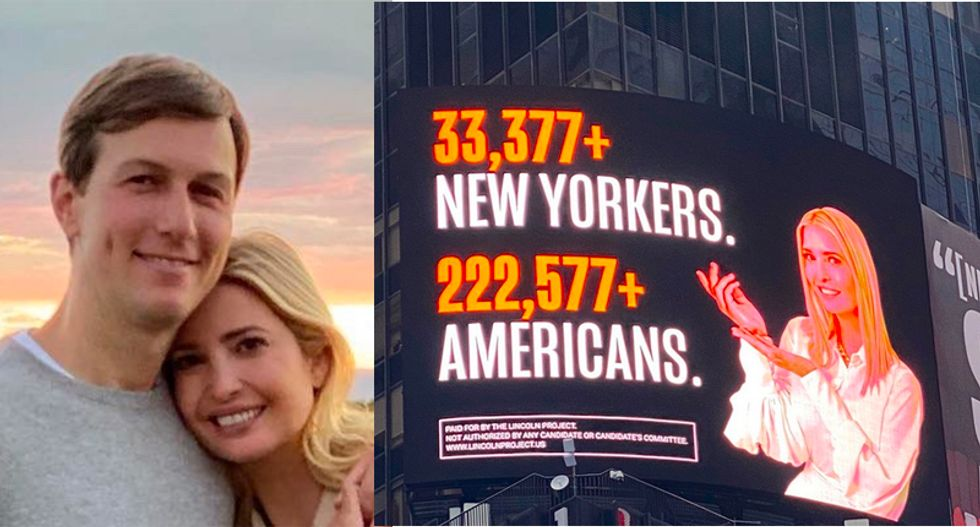 Ivanka celebratory wedding anniversary tweet flooded with reminders of Times Square billboards ripping couple over COVID