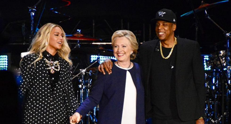 'I want my daughter to grow up seeing a woman lead our country': Watch Beyoncé's stirring call to elect Hillary