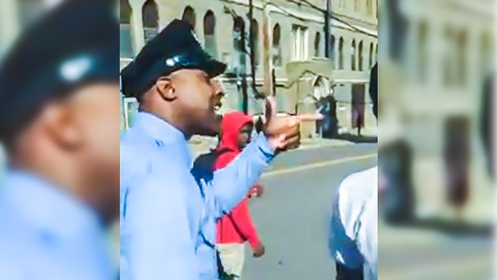 Caught on video: Philly cop threatens to 'beat the sh*t' out of teen for looking him in the 'f*cking eye'