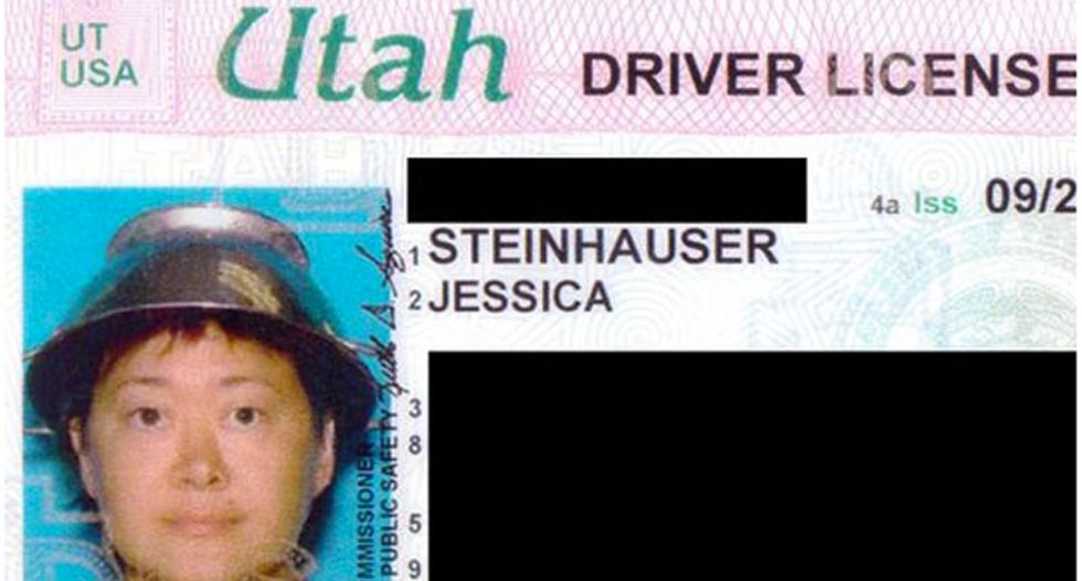 Atheist and proud: Former adult star Asia Carrera wears 'Pastafarian' colander for Utah license photo