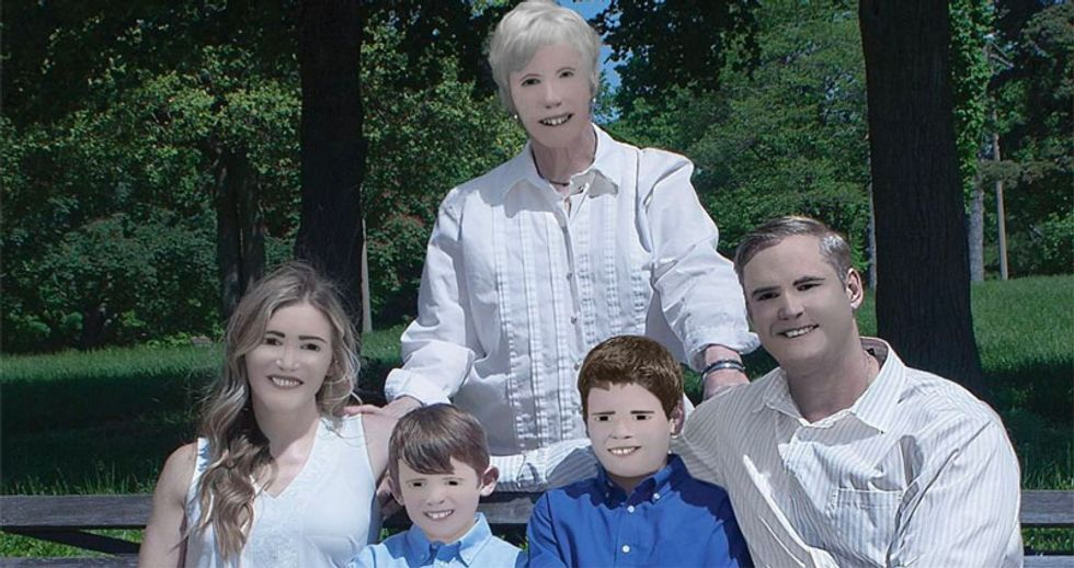 Photographer's attempt at retouching family portraits goes horribly wrong