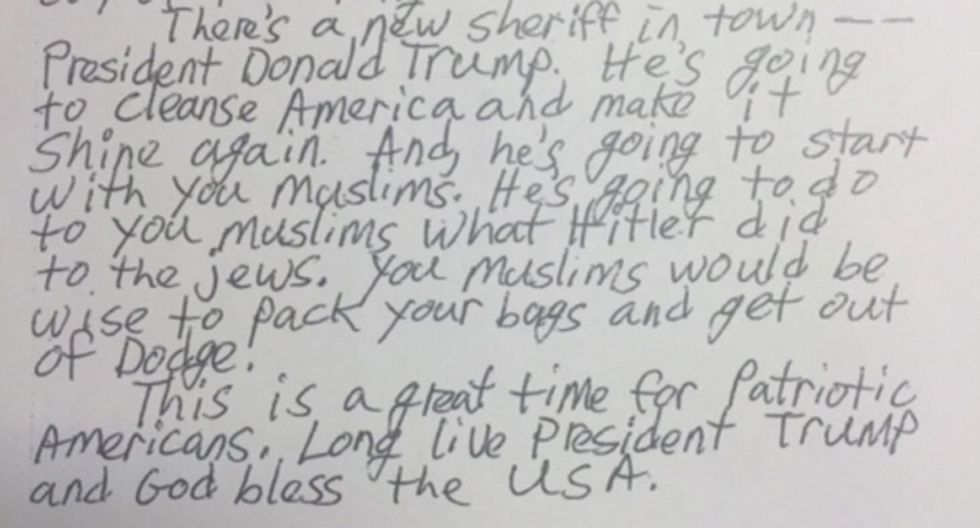 Trump is 'going to do to you Muslims what Hitler did to the Jews': California mosque threatened