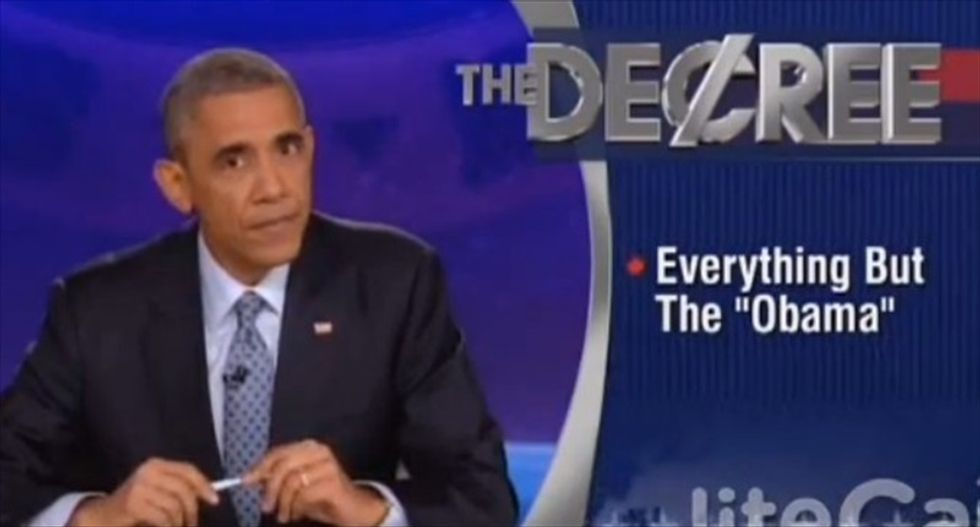 Obama takes over for Stephen Colbert: Obamacare now 'half as popular as Grumpy Cat'