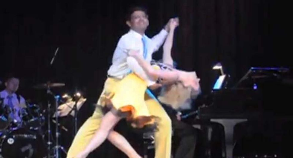 Here is convicted felon Dinesh D'Souza dancing instead of doing time in prison where he belongs