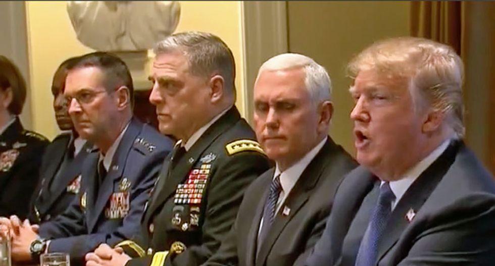 'Extraordinarily uncomfortable': CNN rolls cringeworthy close-up of Trump's generals during his anti-FBI rant