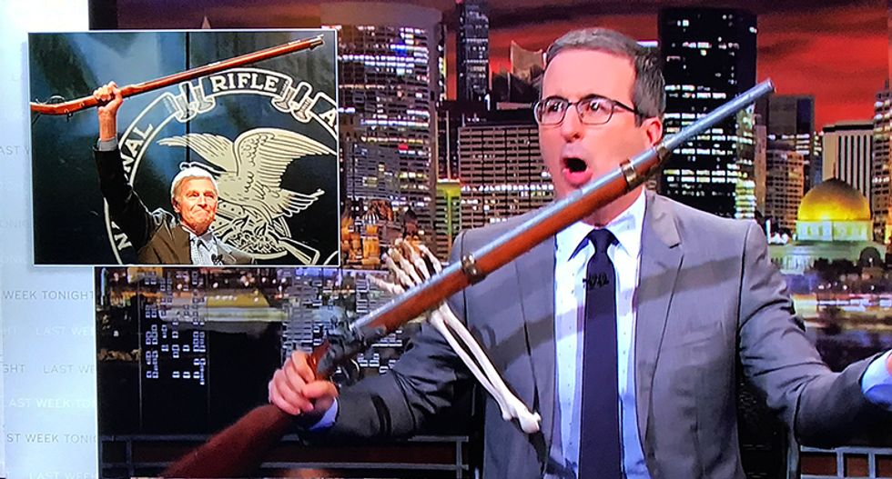 John Oliver pried the gun from Charlton Heston's cold dead hands -- then he ripped the NRA to shreds