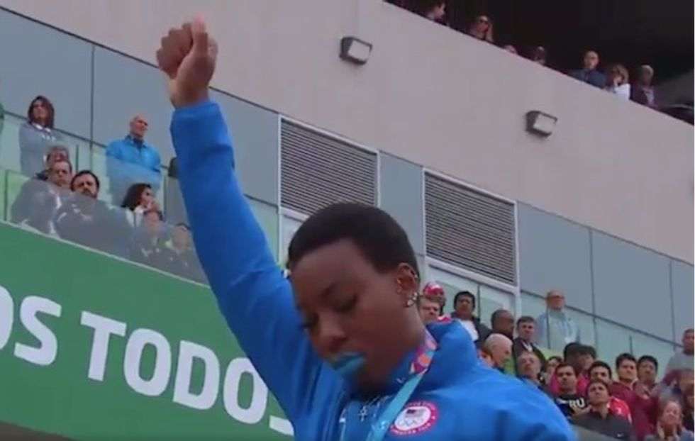 A fist raised and a knee taken: US gold medalists Gwen Berry and Race Imboden protest trump racism and gun violence Epidemic at Pan Am Games