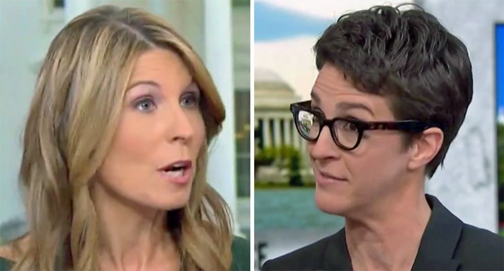 Watch Rachel Maddow reveal to Nicolle Wallace her tricks for keeping up with Trump's scandals