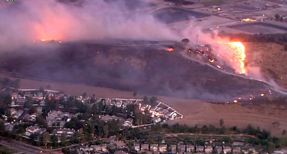 LIVE VIDEO: Firefighters in southern California battle fast-moving blaze near Ronald Reagan Library