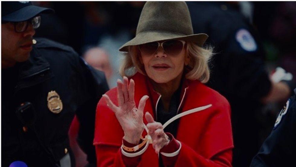 Jane Fonda under arrest again, in US climate protest