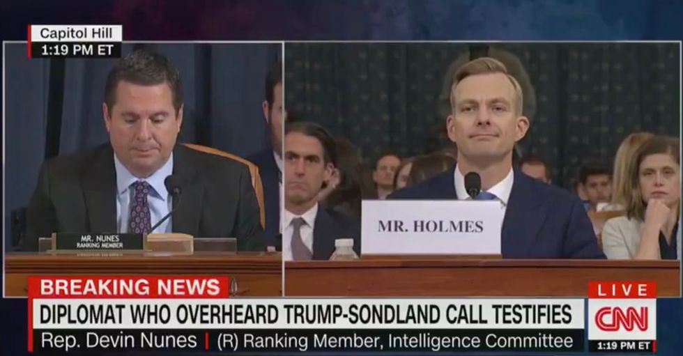WATCH: Devin Nunes stunned after State Dept. official David Holmes knocks down his 'black ledger' conspiracy theory