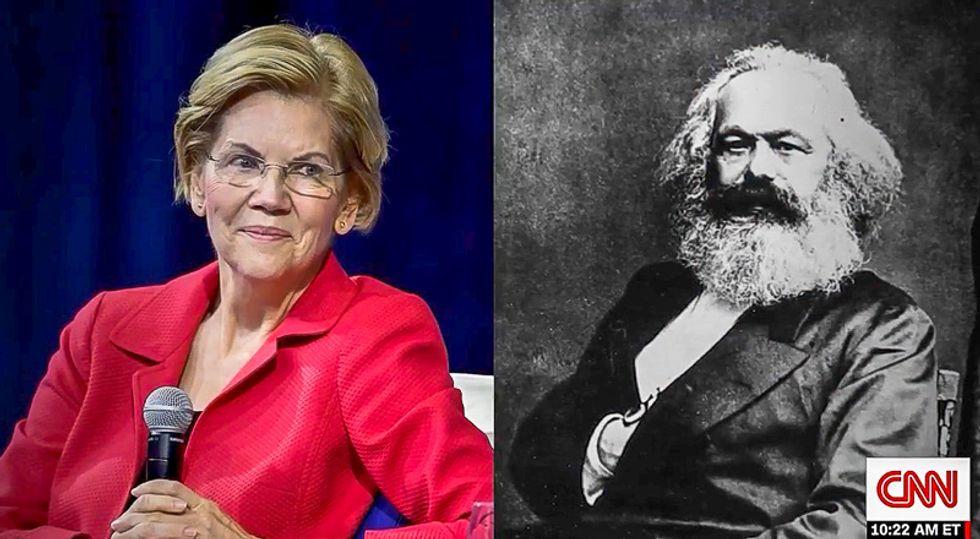 CNN airs photo of Elizabeth Warren beside Karl Marx -- but later clarifies 'she's not really a socialist'