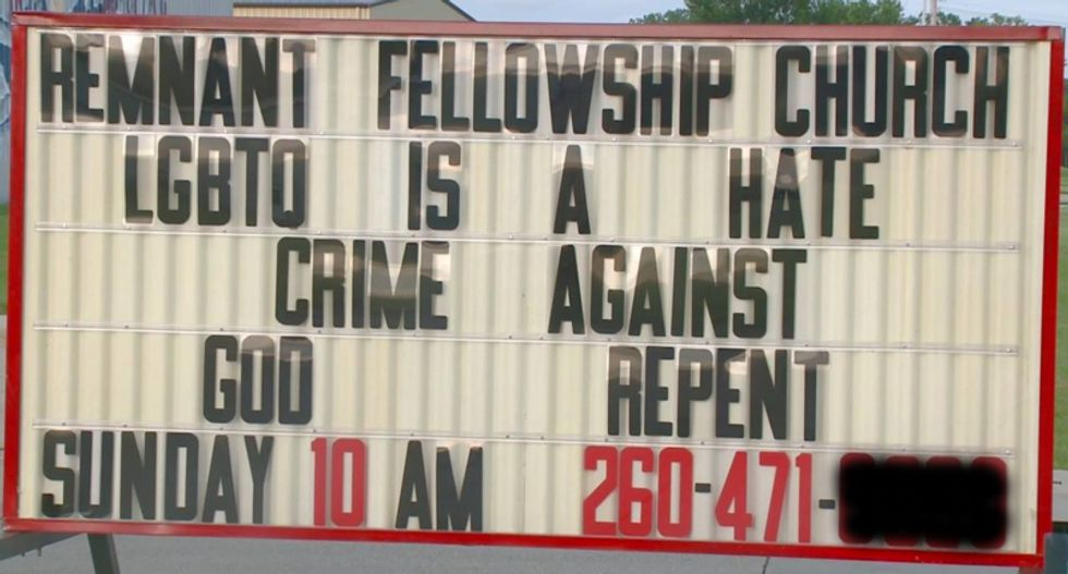 Indiana landlord evicts church over sign saying 'LGBTQ is a hate crime'
