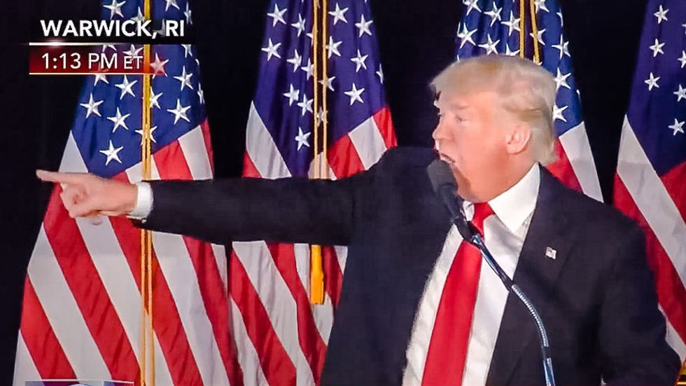 Watch Donald Trump rage at protesters in Rhode Island: 'They don't love our country'
