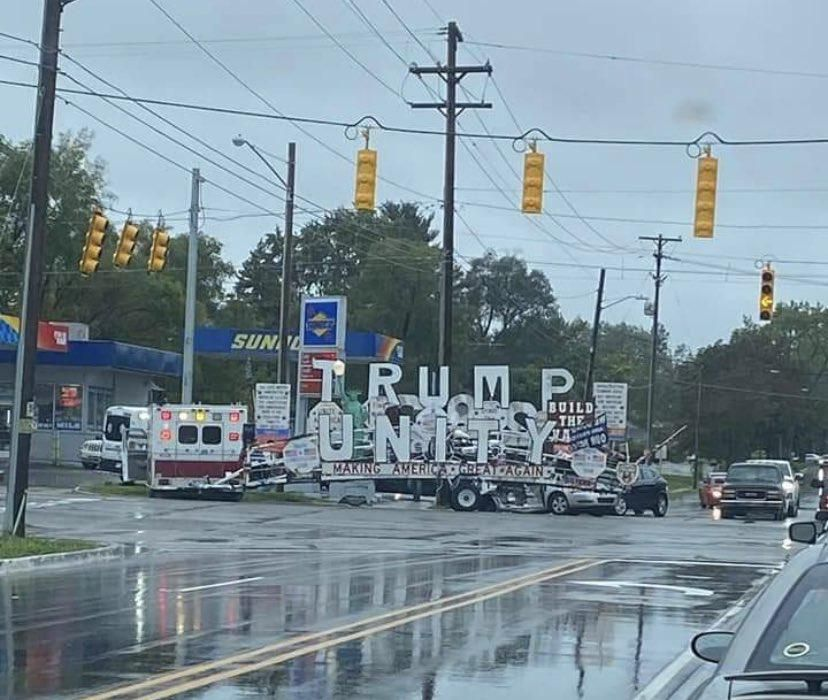Vehicle carrying massive pro-Trump display crashes into telephone pole in three-car pileup
