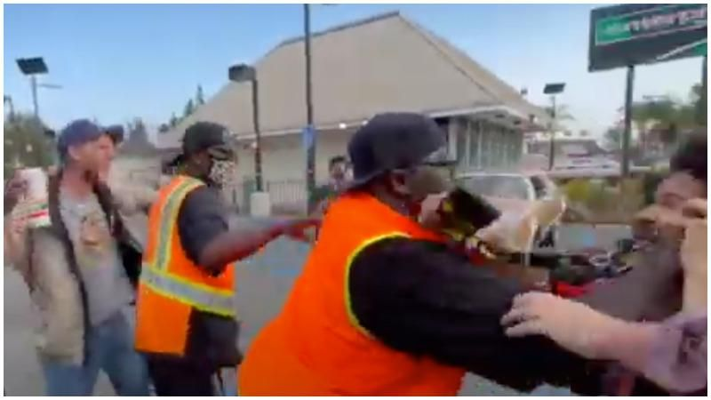 WATCH: Violence erupts at anti-mask protest outside Roscoe's House of Chicken and Waffles