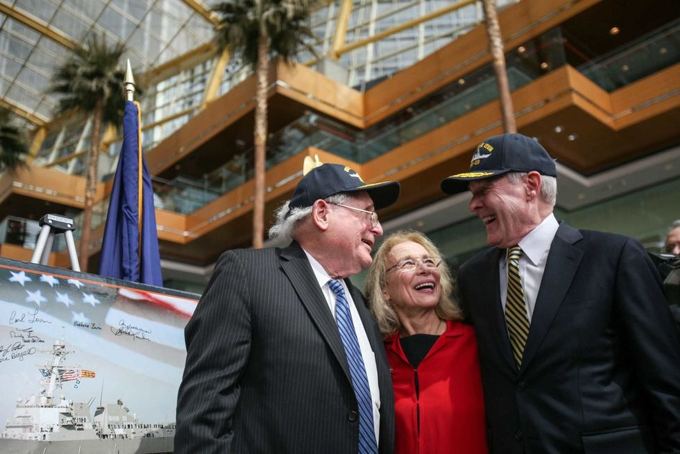 Destroyer named for Sen. Carl Levin is christened in Maine