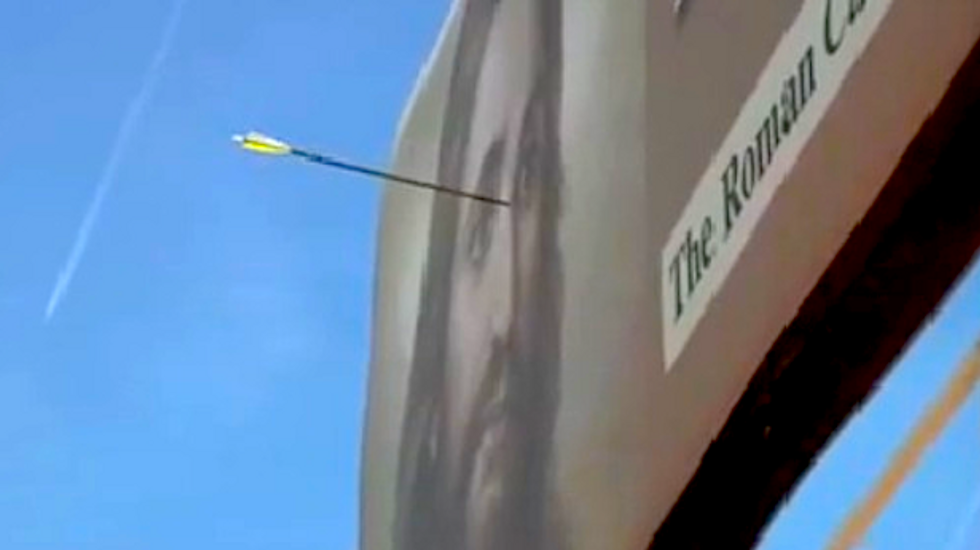 Right between the eyes: Vandals deface Jesus billboard with arrow in New Mexico