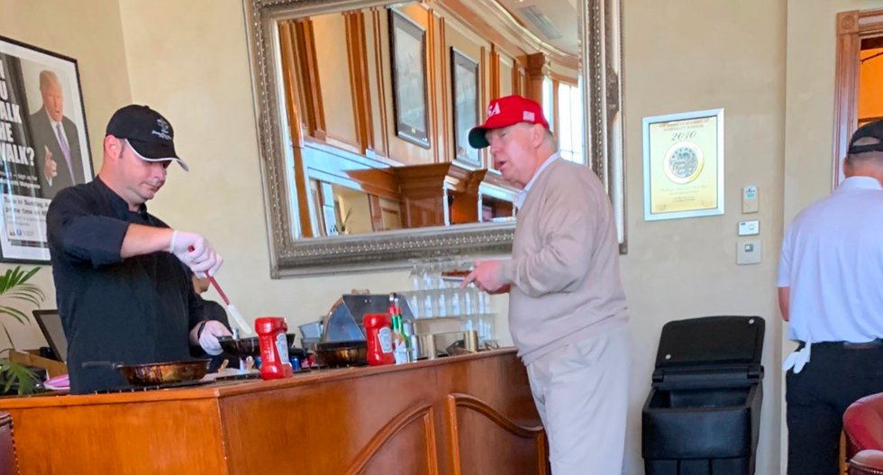 Kellyanne Conway husband trolls Trump for grazing at the golf course omelet bar while the country is in a state of emergency