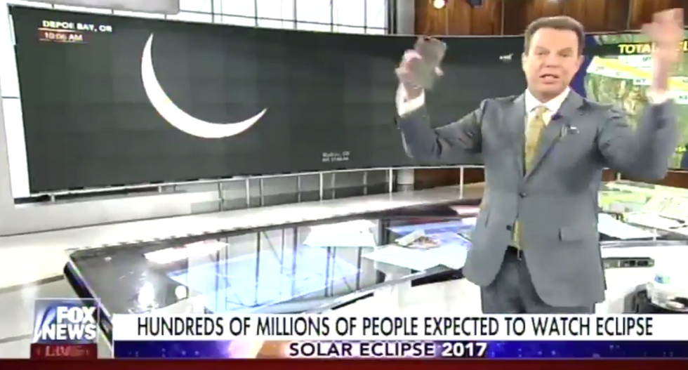 Watch this supercut of Fox's Shep Smith freaking out about the solar eclipse