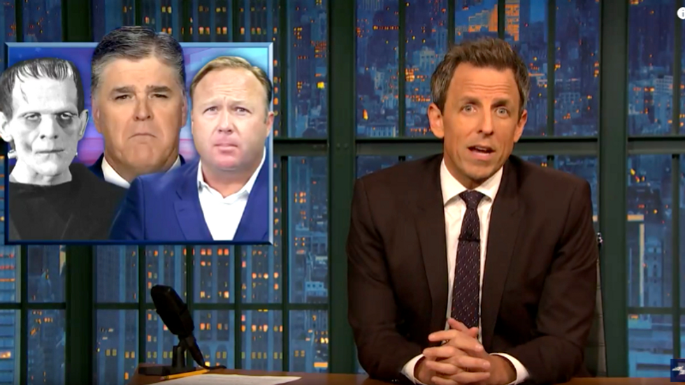 Seth Meyers: Fox News' Sean Hannity is what you would get if you gave Frankenstein the brain of Alex Jones
