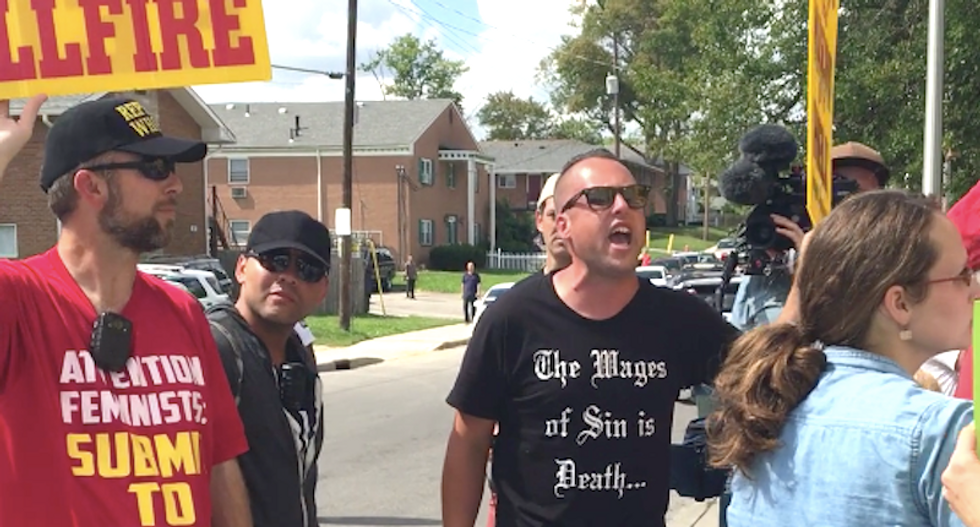 'We love Donald Trump, you wicked devil': Anti-Muslim group shouts bizarre slurs outside Ohio mosque