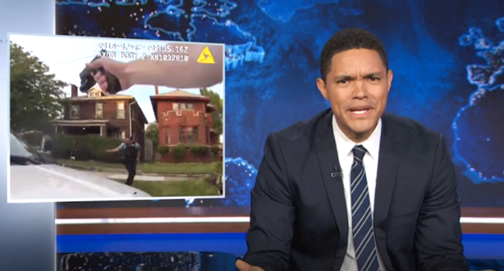 'Godd*mn, what is this?': Trevor Noah shocked by chaotic video of cops gunning down unarmed black man