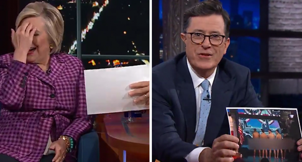 'I wish you were our president': Colbert reveals he was 'going to have naked men onstage' if Clinton won