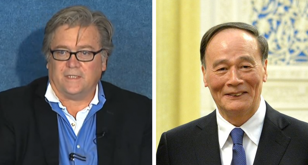 Why is a fired White House staffer writing Trump's speeches and meeting with Chinese leaders?