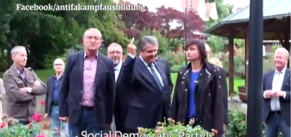 WATCH: German vice-chancellor gives the middle finger to neo-Nazis who called him a 'race traitor'