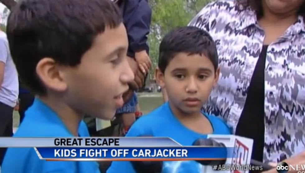 7-year-old twin boys fend off Texas carjacker with fists and a rubber snake