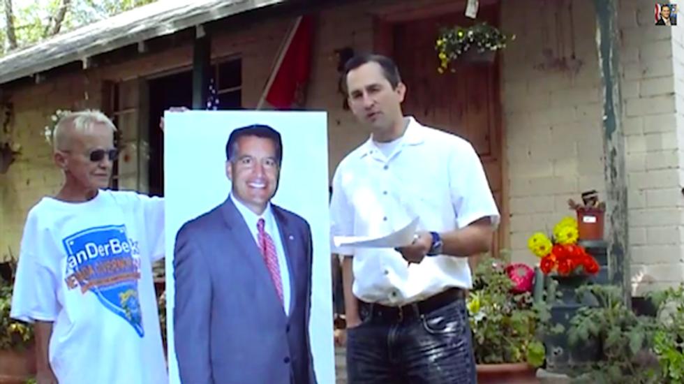 NV gubernatorial candidate debates cardboard cutout at Bundy ranch as roosters heckle him
