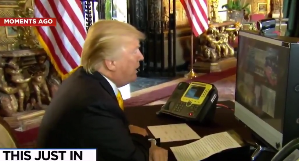 'They weren't letting you win': Watch Trump use his Thanksgiving address to the troops to bash the Obama administration