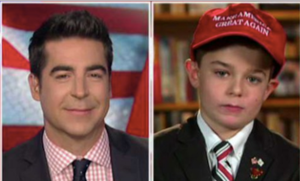 'His intellectual equal': Fox's Jesse Watters catches hell online for interview with child Trump fan