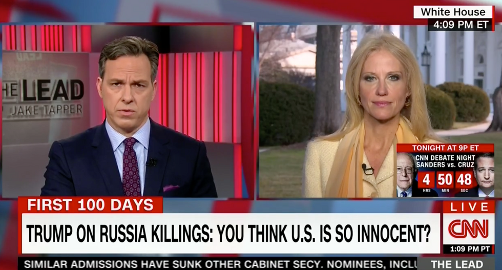 'That's just false': Jake Tapper corners a flailing Kellyanne Conway on Trump's 'offensive' lies