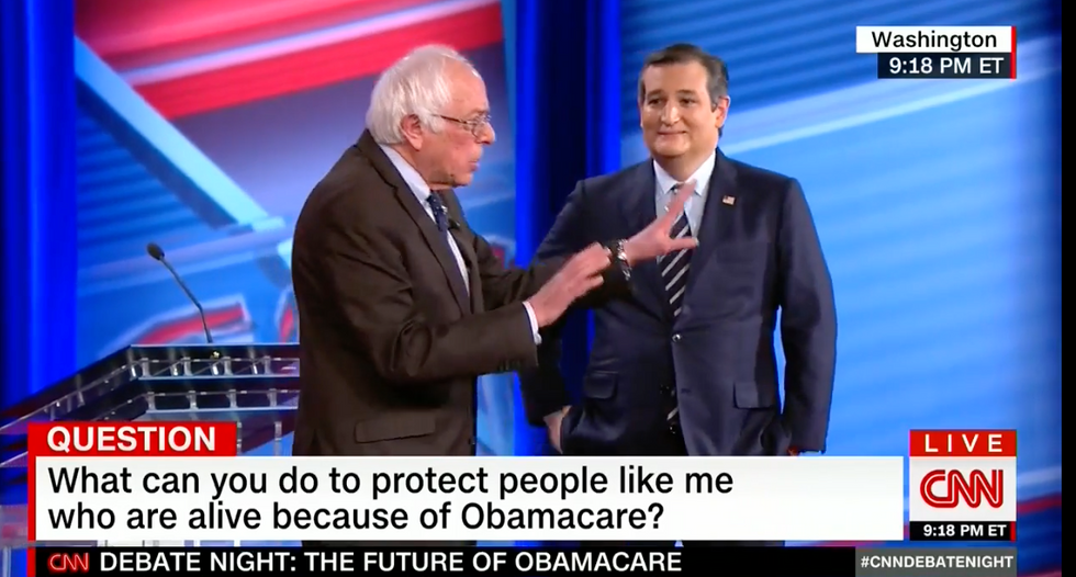'You're a good lawyer': Sanders mocks Cruz for ducking woman's question about pre-existing conditions