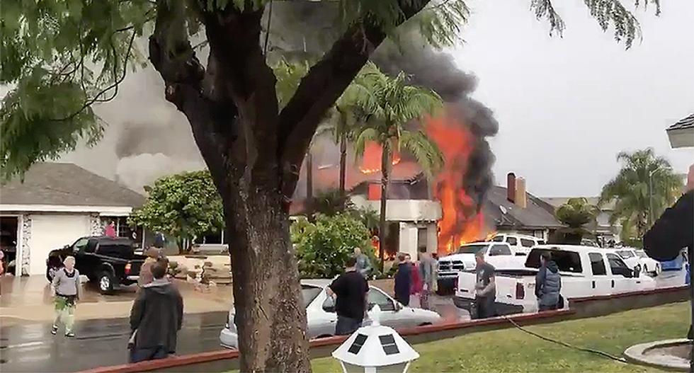 WATCH: Plane crashes into homes in Yorba Linda, California neighborhood